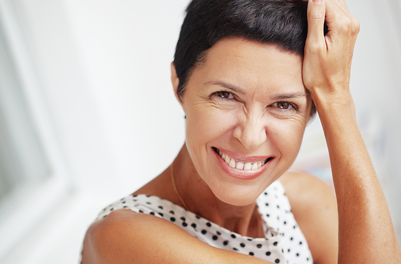 happy woman with good skin